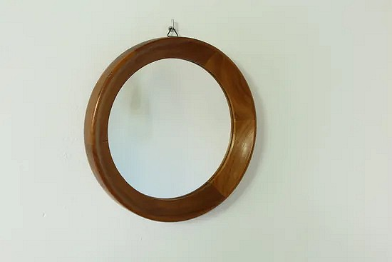 Round teak Danish mirror