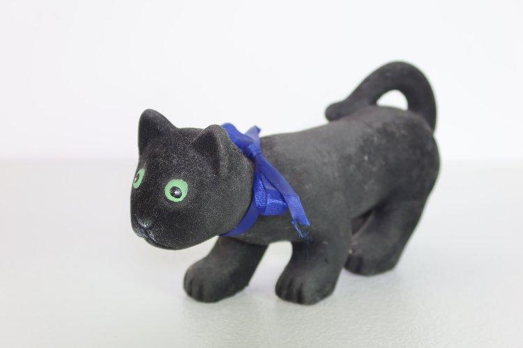 Vintage ceramic cat figurine, covered with felt