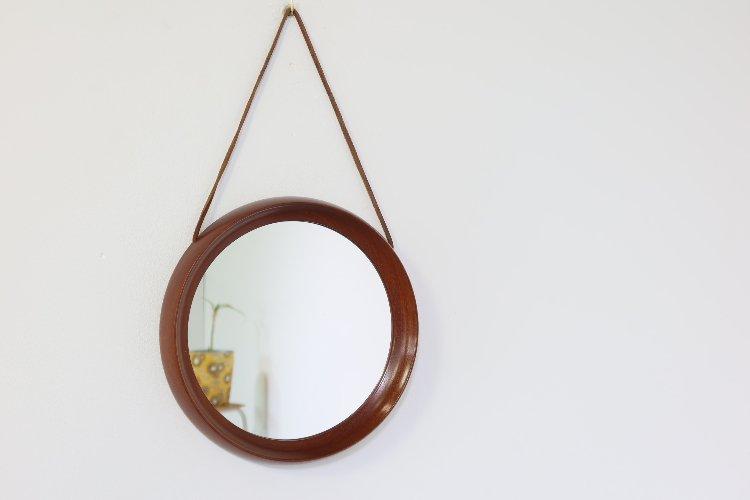 Round teak Luxus mirror - Uno & Östen Kristiansson