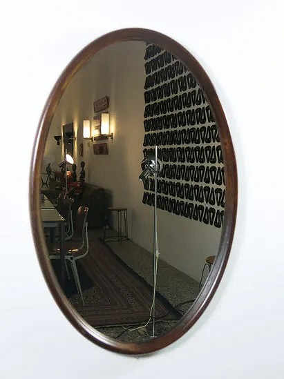 Oval wooden mirror