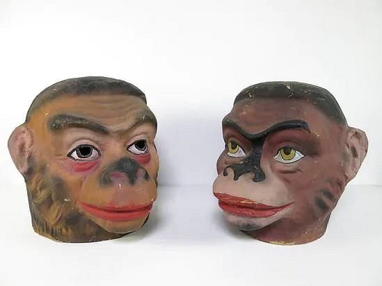 Antique monkey carnival masks