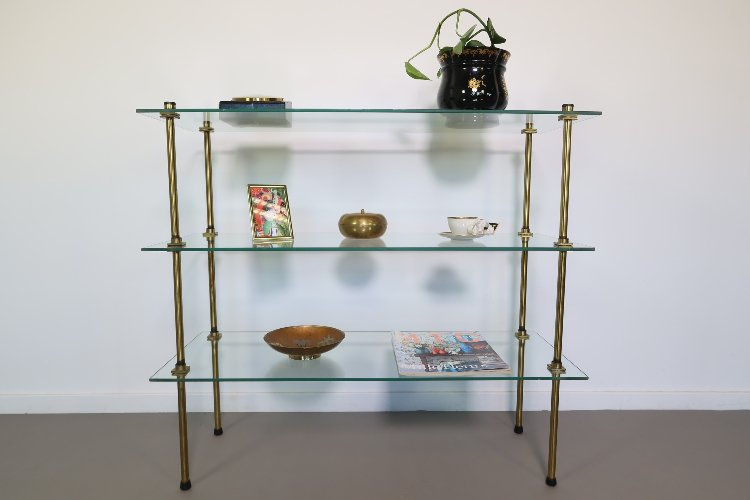 Brass and glass French display unit