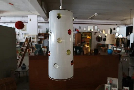 Italian glass pendant lamp with colored glass buttons