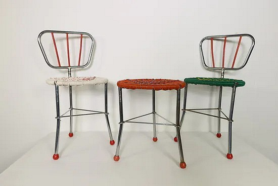 Mid-century modern foldable children's table and chairs